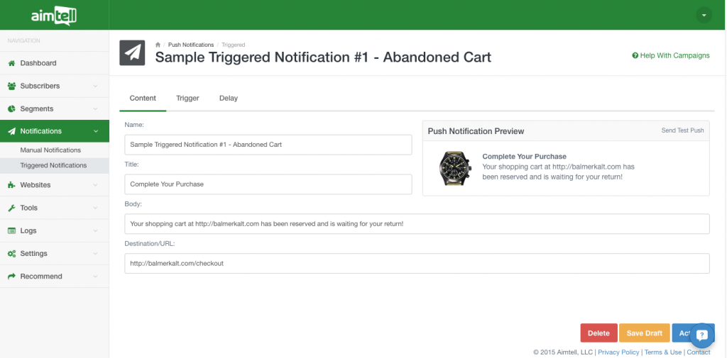 sample triggered notification Beginner's Guide To Website Push Notifications