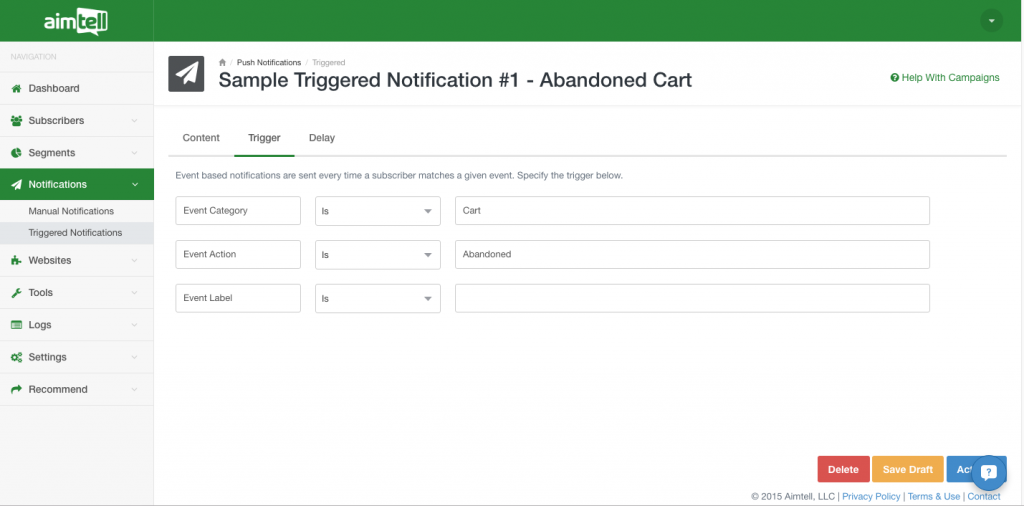 triggered notification set up Beginner's Guide To Website Push Notifications