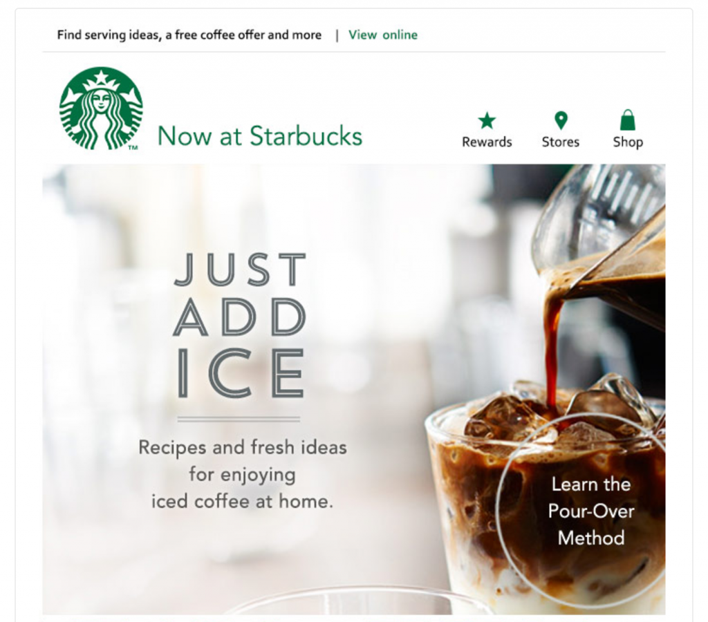 starbucks visual email example email and web push