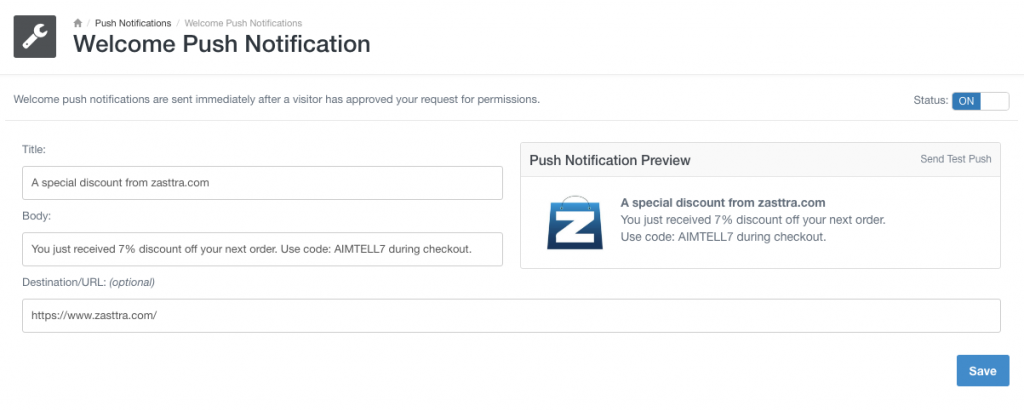 welcome push notification Automate Your Web Push Notifications