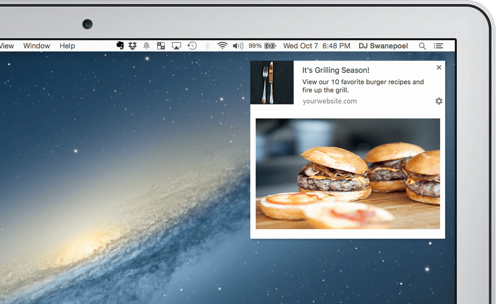 web push notifications with large images