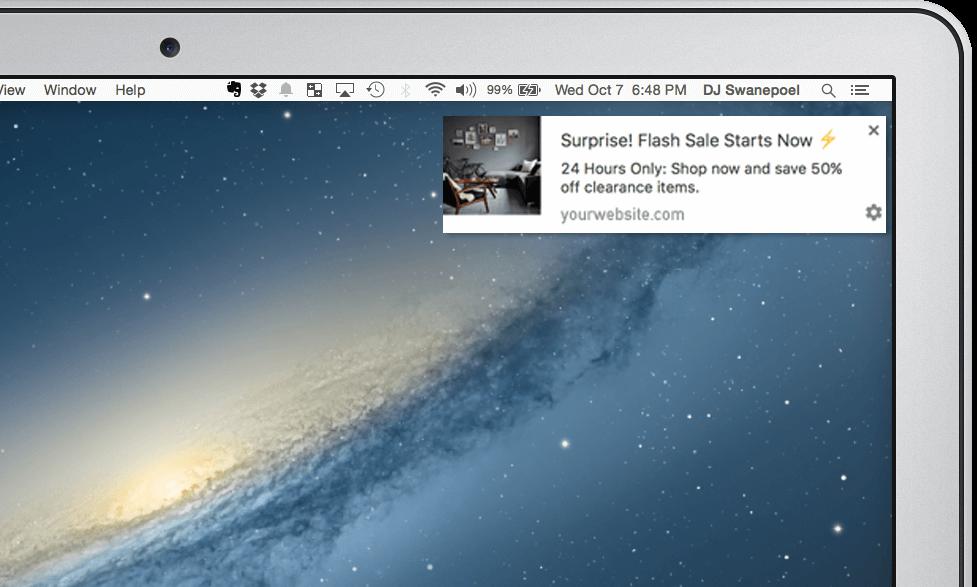 marketing channels flash sale web push notification